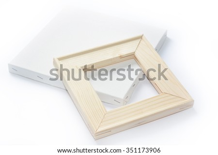Canvas on wooden frame - stretcher bar frames back and front side isolated on white - stock photo