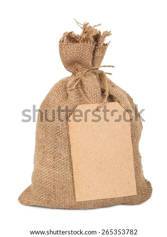Canvas  sack with tag - stock photo