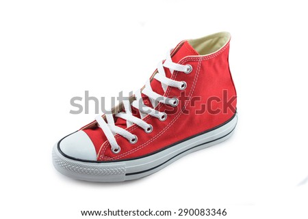 canvas shoes red on white background