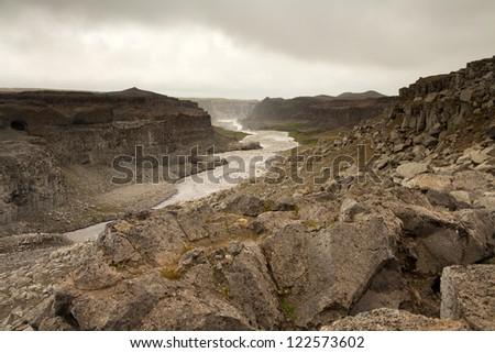 Canyon at Dettifoss Iceland - stock photo
