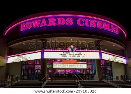 CANYON COUNTRY, CA/USA - DECEMBER 18, 2014: Edwards Cinema movie theater exterior. Edwards Cinema is an American movie theater chain. - stock photo