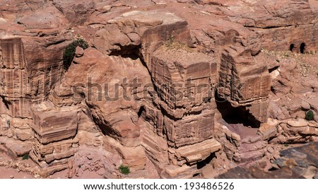 Canyon in Petra (Rose City), Jordan. The city of Petra was lost for over 1000 years. Now one of the Seven Wonders of the Word - stock photo