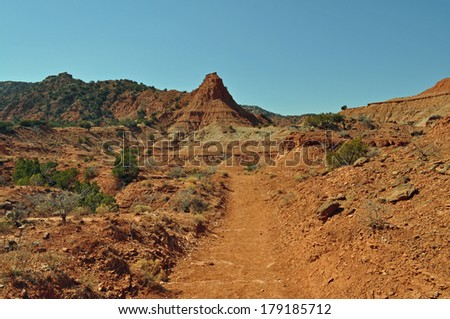 Canyon Look Trail in Caprock Canyons State Park, Texas - stock photo