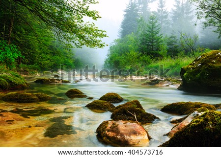 Canyon Mostnica near lake Bohinj in Slovenia (Mostnice Korita) - stock photo
