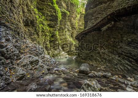 Canyon near Waterfall Kozjak in Slovenia. - stock photo