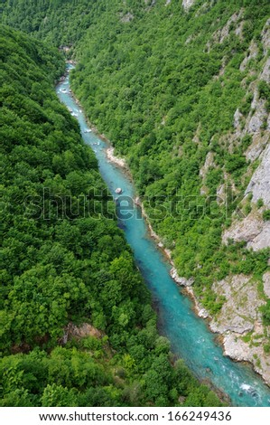 Canyon of river Tara, deepest canyon in the Europe, second in the world. State of Montenegro - stock photo