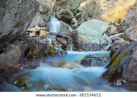 canyon river in the Altai mountains in Siberia - stock photo