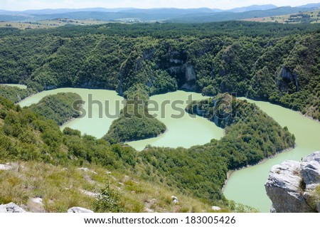 Canyon Uvac River Special Nature Reserve, Serbia - stock photo