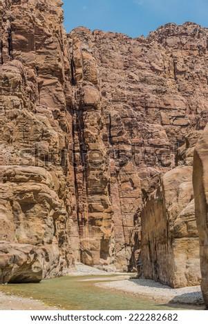 canyon wadi mujib in Jordan middle east - stock photo