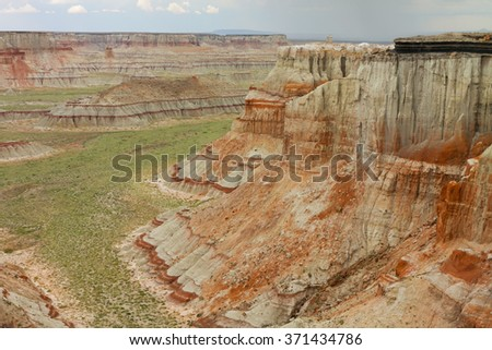 Canyon with Red Stripes - stock photo