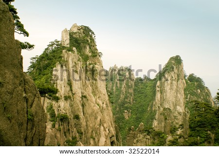 canyons and valleys in huangshan - stock photo