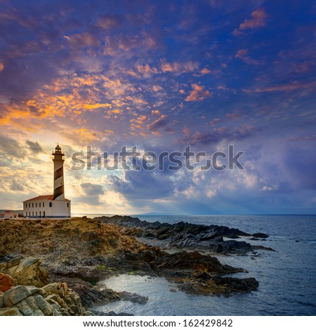 Cap de Favaritx sunset lighthouse cape in Mahon at Balearic Islands of Spain - stock photo