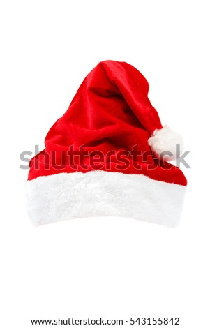 Cap of Santa Claus isolated on white background.