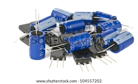 capacitors are isolated on a white background - stock photo
