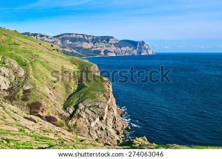 Cape Aya, Crimea. View from Balaklava fortress  - stock photo