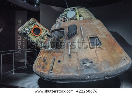 CAPE CANAVERAL, FLORIDA - JANUARY 20, 2009 - The Apollo lunar module LEM  spacecraft used as part of the American space program to transport astronauts to the lunar surface.Elements furnished by NASA - stock photo