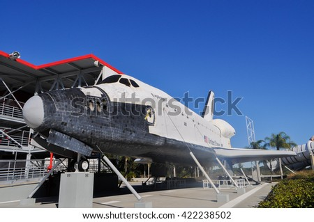 CAPE CANAVERAL, FLORIDA - JANUARY 20, 2009 - The Space Transportation System  Space Shuttle or Space Shuttle was a reusable launch system NASA the US government agency. Elements furnished by NASA - stock photo