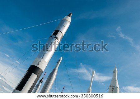 CAPE CANAVERAL, FLORIDA - JUNE 7, 2013: The Rocket Garden at Kennedy Space Center NASA.  Tourist attraction, historical rockets from past explorations for United States human space flight since 1968 - stock photo