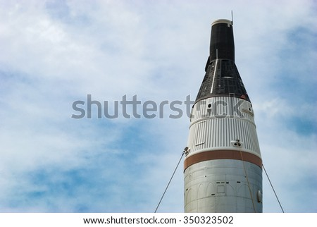 CAPE CANAVERAL, FLORIDA - JUNE 7, 2013: The Rocket Garden at Kennedy Space Center NASA.  Tourist attraction, historical rocket2 from explorations for every United States human space flight since 1968 - stock photo