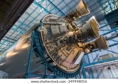 CAPE CANAVERAL, FLORIDA November 1th, 2014.  Interior of NASA Kennedy Space Center, Apollo Saturn V Center at Kennedy Space Center, Orlando, Florida. This is the rocket used to go to the moon in 1969. - stock photo