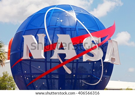 Cape Canaveral, Florida, USA - APR, 2016: Apollo rockets on display in the rocket garden at Kennedy Space Center - stock photo