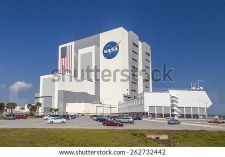 Cape Canaveral, Florida, USA - MARCH 20, 2015: NASA Main Building, Spacecraft assembly building - stock photo