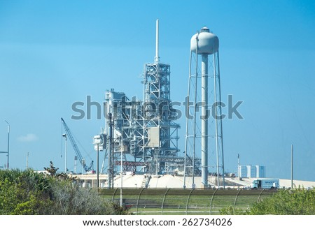 Cape Canaveral, Florida, USA - MARCH 20, 2015: NASA Spacecraft launch platform. Preparation for the Falcon Space-x spacecraft launch - stock photo
