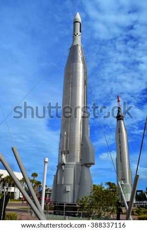 Cape Canaveral, Florida, USA - May 6, 2015: Apollo rockets on display in the rocket garden at Kennedy Space Center - stock photo