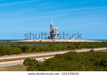 CAPE CANAVERAL, FLORIDA, USA - NOVEMBER 22: NASA Space Shuttle Launch Center at November 22, 2011 - the launch pad where the final Space Shuttle will go into orbit Summer of 2011. - stock photo