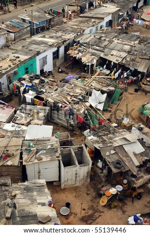 Cape Coast fishing houses and community in Ghana - stock photo