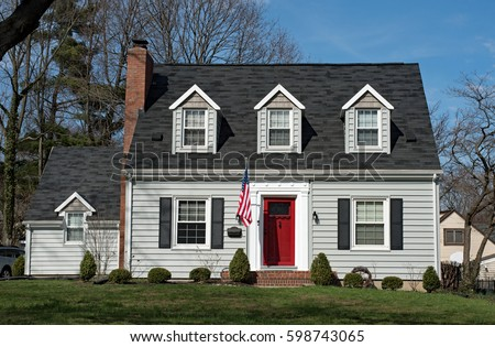 Cape Cod House Three Dormers Red Stock Photo 598743065