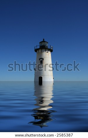 Cape Cod Lighthouse with water reflection - stock photo
