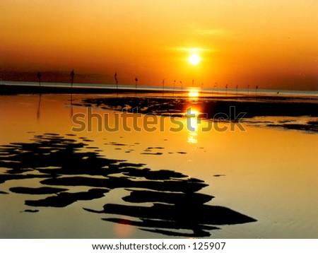 Cape Cod sunset - stock photo