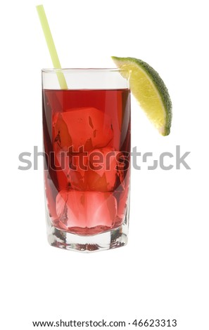 Cape Codder mixed drink with lime wedge on white background - stock photo