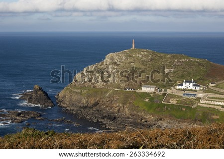 Cape Cornwall on a fine winter's day, once thought to be England's most south-western point before Land's End was identified, Cornwall, England, UK. - stock photo