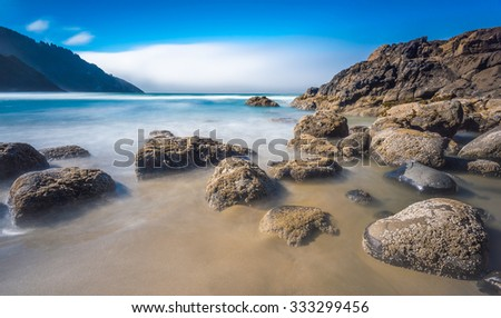 cape cove beach near by Heceta Head Lighthouse  in us 101 route,Oregon coast,OR,USA. - stock photo