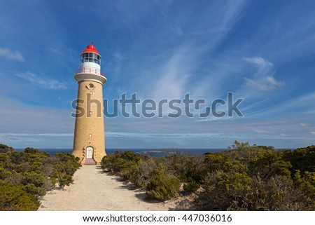 Cape du Couedic Lighthouse station in Flinders Chase National Park on Kangaroo Island, South Australia with blue sky and Ocean view - stock photo
