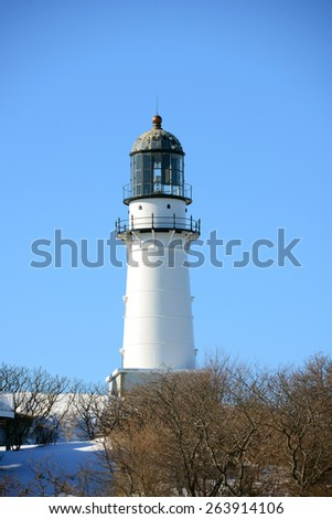 Cape Elizabeth Lighthouse, also known as Two Lights, located in Town of Cape Elizabeth, Maine, USA. - stock photo
