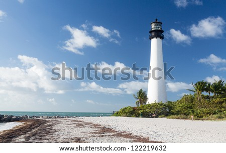 Cape Florida Lighthouse and Lantern in Bill Baggs State Park in Key Biscayne Florida - stock photo