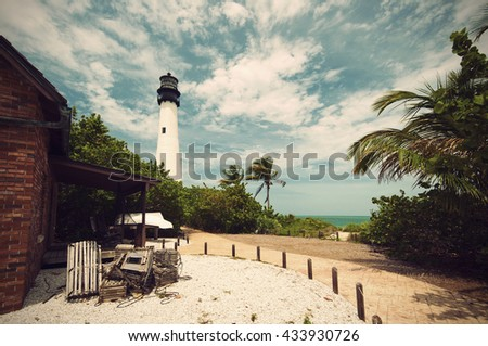 Cape Florida Lighthouse in Bill Baggs State Park in Key Biscayne Florida, Vintage filtered style  - stock photo