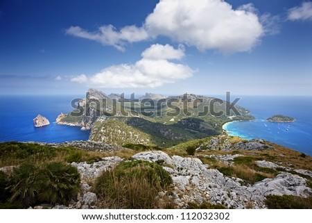 Cape Formentor in the coast of Mallorca - stock photo
