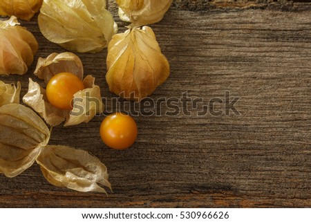 cape gooseberry on grunge wooden background.Rich in vitamin A and C can prevent colds, allergies, . That nourish  eye Prevent blindness in the dark eye made pretty good skin, beautiful hair black.