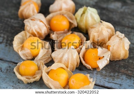 Cape Gooseberry on old wooden table