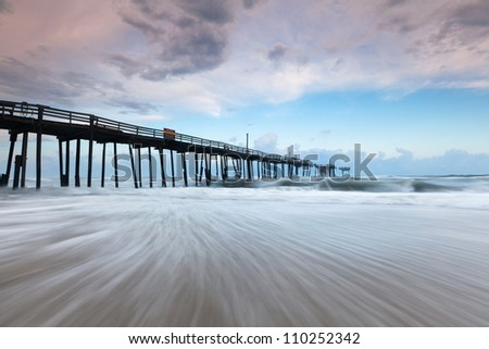 Cape Hatteras National Seashore Outerbanks Derelict Storm Ravaged Fishing Pier - stock photo