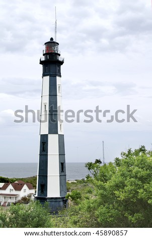 Cape Henry Lighthouse, Virginia Vertical With Copy Space - stock photo