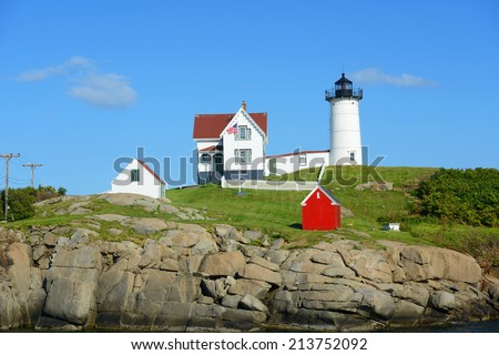 Cape Neddick Lighthouse (Nubble Lighthouse) at Old York Village, Maine, USA - stock photo