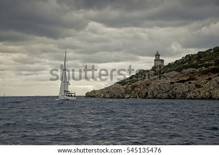 Cape of Poros lighthouse in the  mediterranean