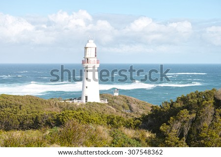 Cape Otway lighthouse,  White house founded in 1848, in great ocean road, Australia. - stock photo
