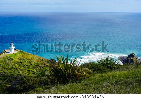 Cape Reinga and the Pacific Ocean - stock photo