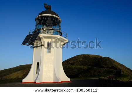 Cape Reinga Lighthouse at the edge of the Northland, New Zealand. - stock photo